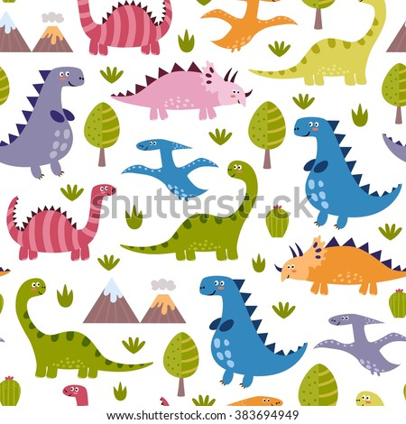Cute dinosaurs seamless pattern. Vector texture in childish style great for fabric and textile, wallpapers, web page backgrounds, cards and banners design - stock vector