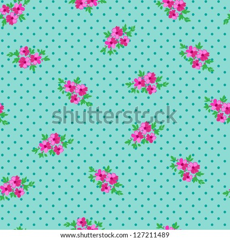 cute ditsy floral over dotty background - stock vector