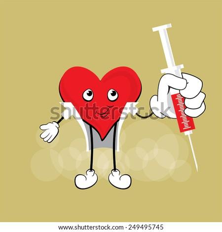 Cute Doctor Heart Cartoon Mascot Character, medical vector design - stock vector