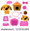 Cute dog accessories collection isolated on white - stock vector