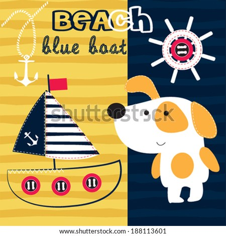 cute dog blue boat on the beach vector illustration - stock vector