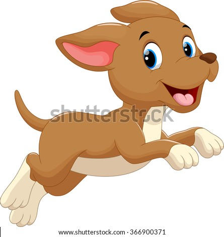 Cute dog cartoon running - stock vector