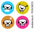 Cute dog colorful buttons isolated on white - stock vector