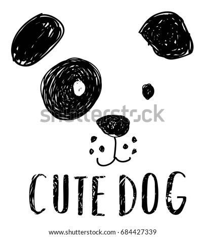 cute dog hand drawing illustration vector.