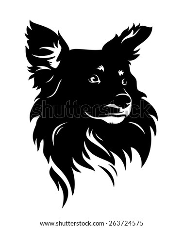 cute dog head - black and white puppy vector portrait