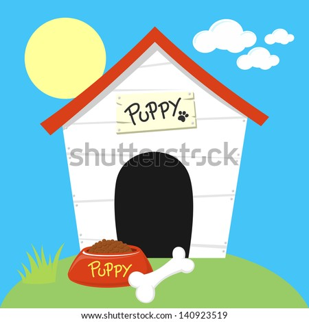cute dog house with dog food bowl and bone - stock vector