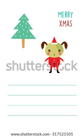 cute dog merry Christmas greeting card - stock vector