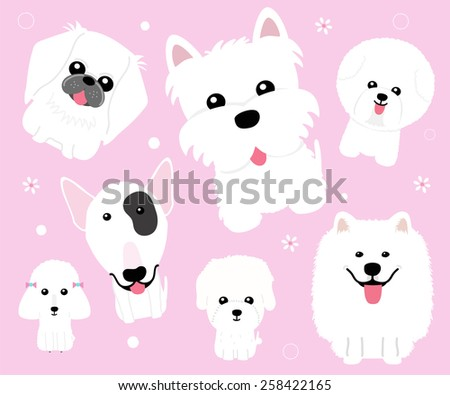 Cute dog on pink background - vector set of icons and illustrations - stock vector