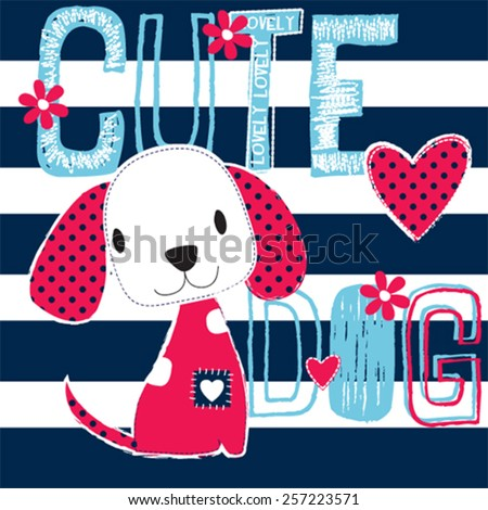 cute dog on striped background vector illustration - stock vector
