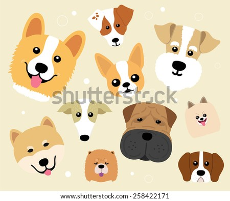 Cute dog on yellow background - vector set of icons and illustrations - stock vector