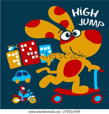 Cute dog riding a scooter.City theme kids graphic Mobile phone case design.Children book design - stock vector