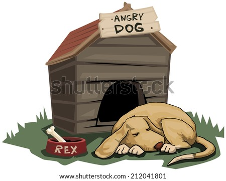 Cute Dog sleeping, with angry dog sign next to him, vector illustration - stock vector