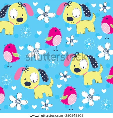 cute dog with bird pattern vector illustration - stock vector