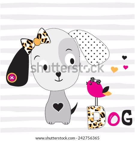 cute dog with bird vector illustration - stock vector