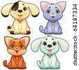 Cute dogs and cats. Funny cartoon and vector animal characters, isolated objects. - stock photo