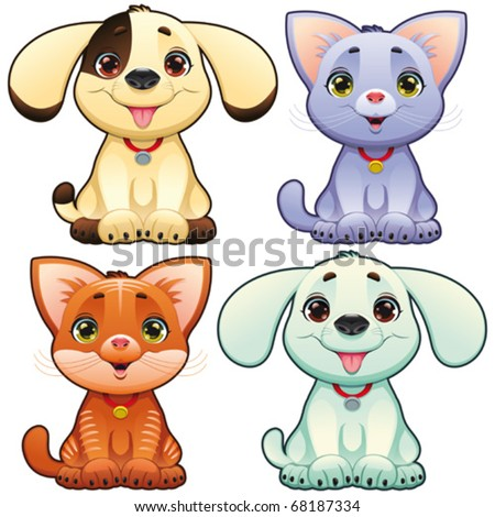 Cute dogs and cats. Funny cartoon and vector animal characters, isolated objects. - stock vector