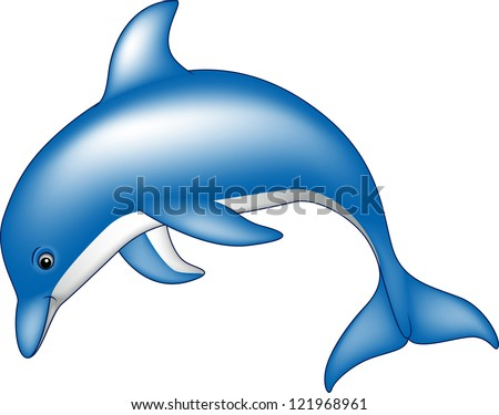 cute dolphin - stock vector