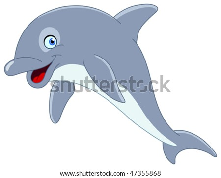 Cute dolphin jumping - stock vector