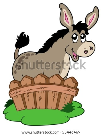 Cute donkey behind fence - vector illustration. - stock vector