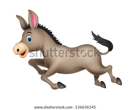 Cute donkey cartoon running - stock vector