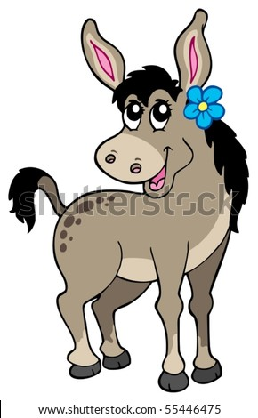 Cute donkey with flower - vector illustration. - stock vector