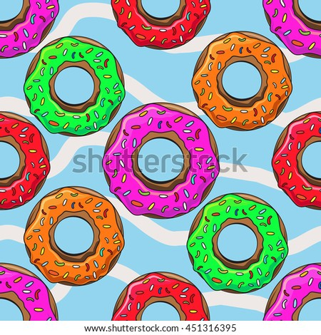 Cute Donuts with colorful glazing. Seamless pattern illustration - stock vector
