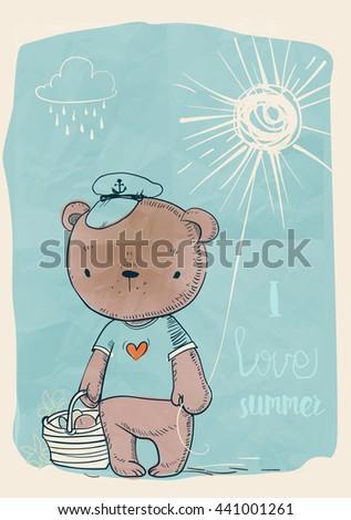 cute doodle bear