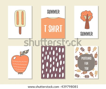 Cute doodle birthday, party, baby shower cards, brochures, invitations with ice cream, t shirt, tree, apple, text space. Cartoon objects - stock vector