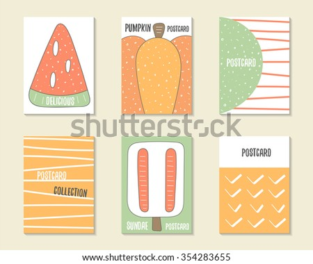 Cute doodle birthday, party, baby shower cards, brochures, invitations with watermelon, pumpkin, dialog bubble, stripes, ice cream. Cartoon food, objects background. Printable templates set - stock vector