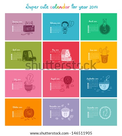 Cute doodle calendar for 2014 in color. Week starts from Sunday - stock vector