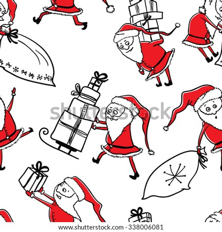 Cute doodle Christmas seamless pattern with Santa and gifts - stock vector