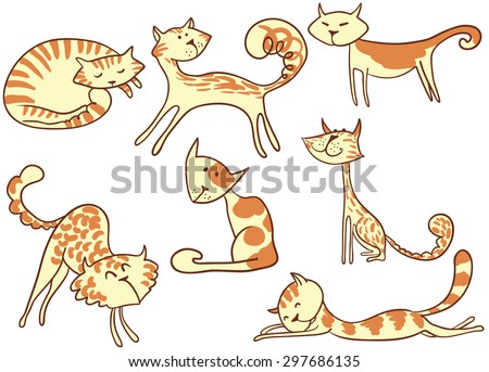 Cute doodle colorful cats set - stock vector
