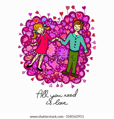 Cute doodle couple in love with floral background. Card for Valentine's day - stock vector