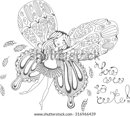 Cute doodle fairy elf, fairy girl cartoon, cartoon card with Fairy - stock vector