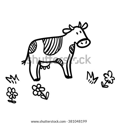 Cute doodle illustration with funny cow. Funny cow line art. Vector cartoon cow. Cartoon cow on white background. Funny cow with flowers. - stock vector
