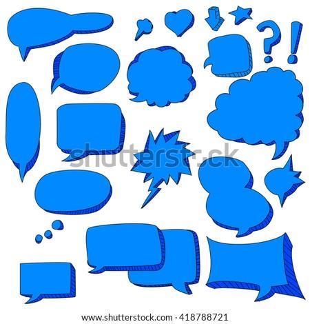 cute doodle of blue speech bubbles - stock vector