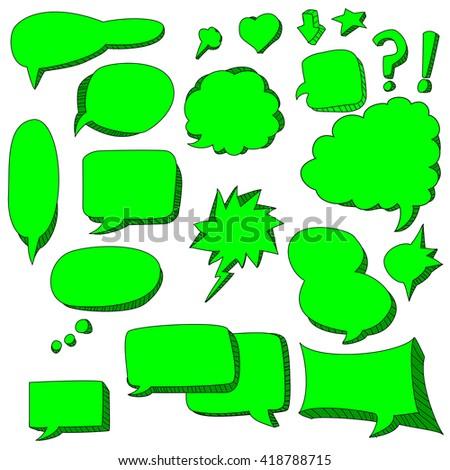 cute doodle of green speech bubbles - stock vector