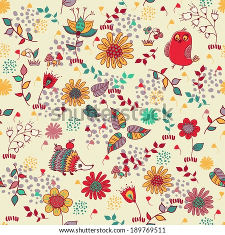 Cute doodle pattern with bird, hedgehog and flowers. Seamless pattern. Funny animals childish design.