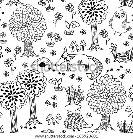 Cute doodle pattern with fox, bird and hedgehog in forest. Seamless pattern. Funny animals childish design. - stock vector