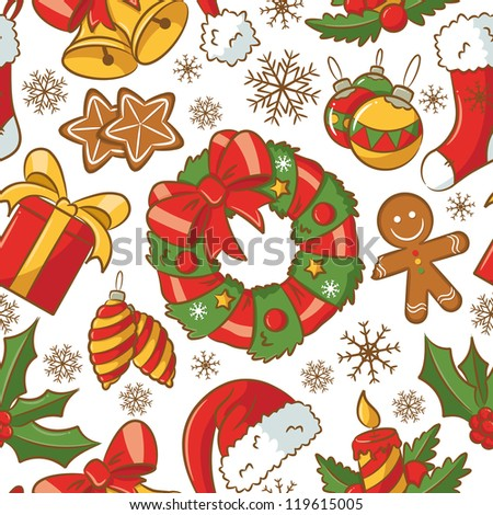 Cute doodle seamless pattern on Christmas theme