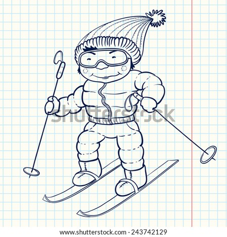 Cute doodle skier (ski player), vector illustration - stock vector