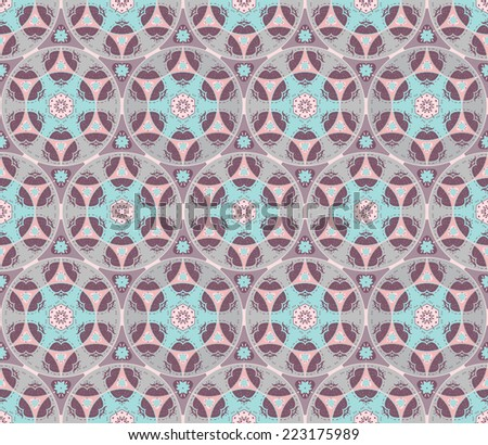 Cute doodle style flowers rosettes in seamless pattern