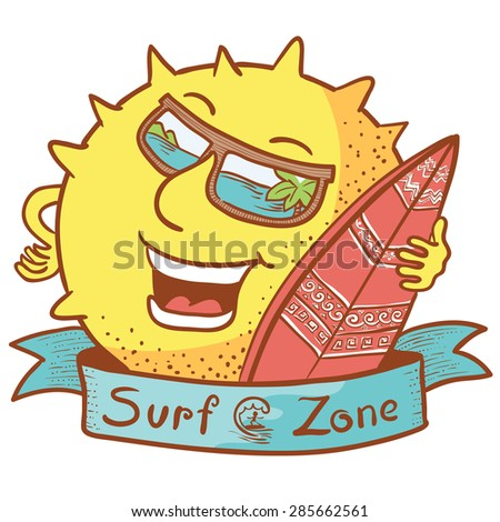 Cute doodle sun character with surfboard - stock vector