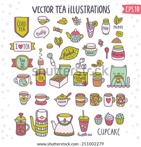 Cute doodle  tea objects: herbal, pot, ginger, muffin, cupcake, cat, dog mug, sugar, mugs, cups, macaroon... Vector adorable illustrations - stock vector
