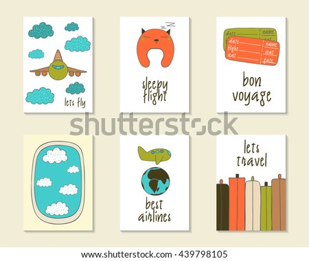 Cute doodle travel, flight cards, brochures, invitations with plane, clouds, flight pillow, luggage, globe, tickets. Cartoon objects for children. Printable templates set