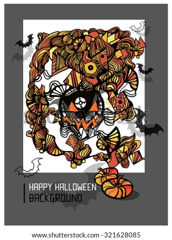 Cute doodles cartoon colorful Happy Halloween hand drawn illustration. Vector template poster design. Decorative ornamental background.