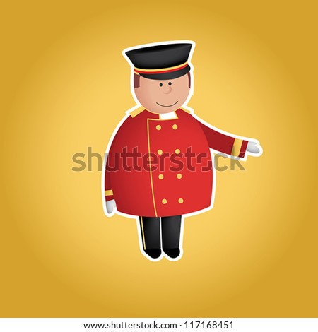 Cute doorman vector character. Yellow background and white border can be easily removed. EPS 10 file. - stock vector