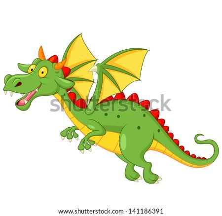 Cute dragon flying - stock vector