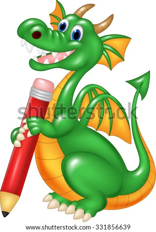 Cute dragon holding rec pencil isolated on white background  - stock vector