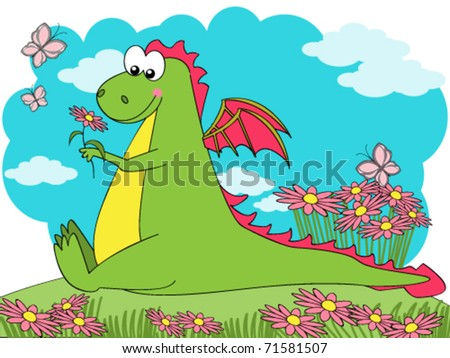 Cute dragon sitting on a flowered meadow - stock vector